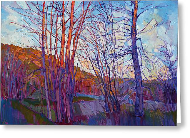 Winter Silhouette Greeting Card by Erin Hanson