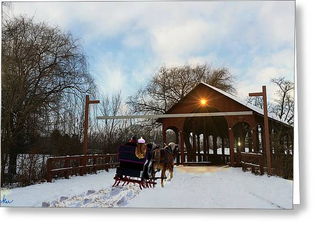 Winter Sleigh Ride Greeting Card by Michael Rucker