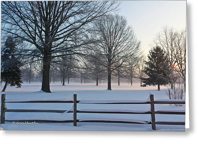 Winter Snow And Shadows Greeting Card by Ann Murphy