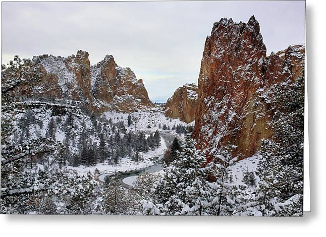 Winter Snow At Smith Rock State Park Greeting Card