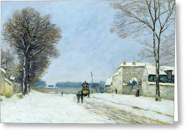 Winter, Snow Effect, 1876  Greeting Card by Alfred Sisley