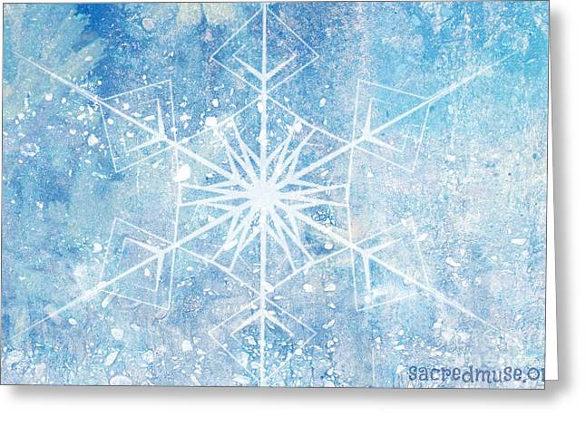 Winter Snow Flake Greeting Card by Sacred  Muse
