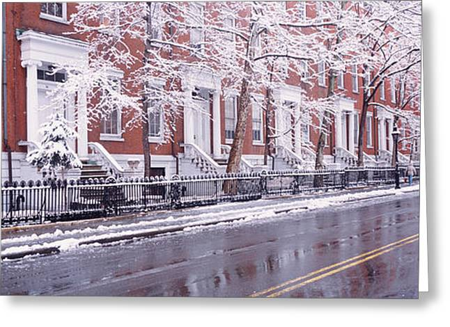 Winter, Snow In Washington Square, Nyc Greeting Card