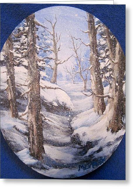 Greeting Card featuring the painting Winter Snow by Megan Walsh