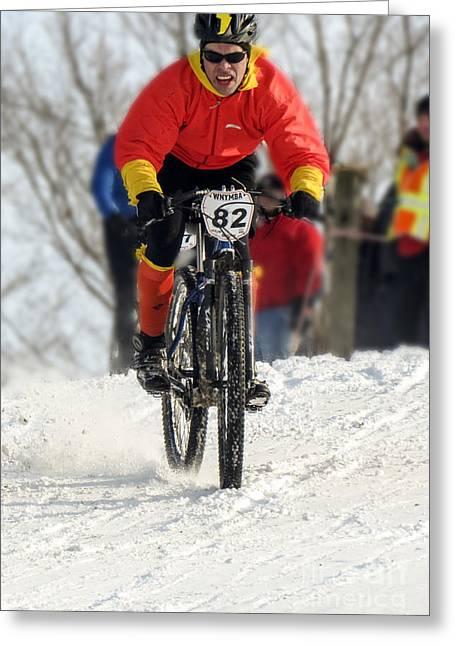 Winter Snow Mountain Bike Race Greeting Card by Darleen Stry
