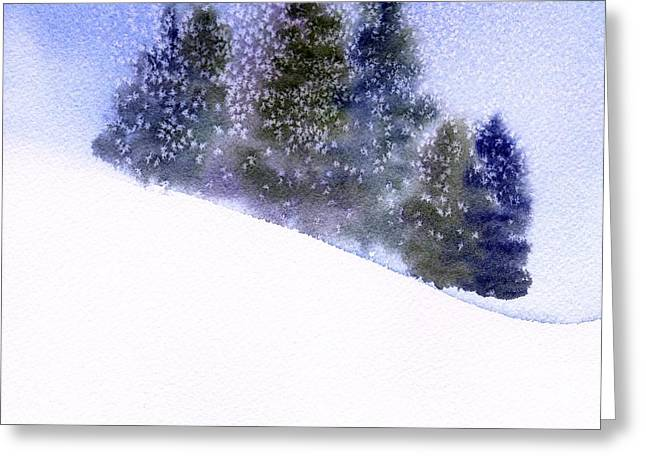 Greeting Card featuring the painting Winter Snowfall by Anne Duke