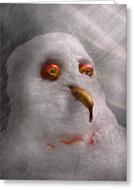 Winter - Snowman - What Are You Looking At Greeting Card by Mike Savad