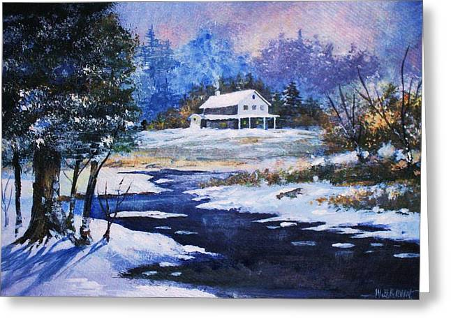 Greeting Card featuring the painting Winter Solitude by Al Brown