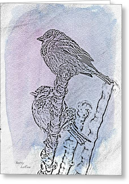 Winter Sparrows 2 Greeting Card by Betty LaRue