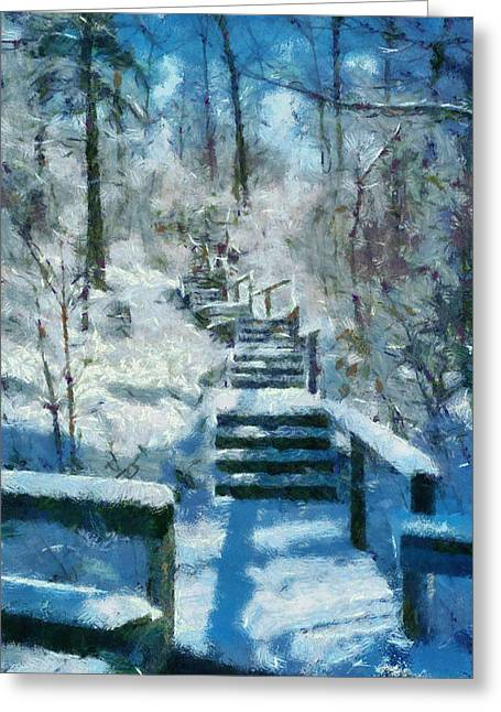 Winter Stairway Greeting Card by Michelle Calkins