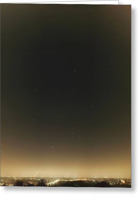 Winter Stars And Light Pollution Greeting Card by Eckhard Slawik