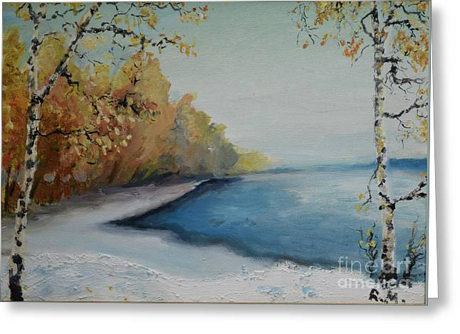 Winter Starts At Kymi River Greeting Card
