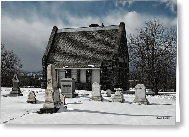 Greeting Card featuring the photograph Winter Stone House by Stephen  Johnson