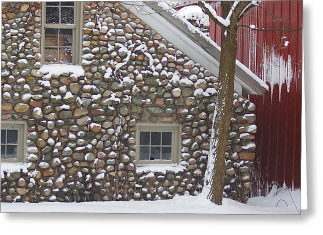 Winter Stone Pattern Greeting Card by Randy Pollard