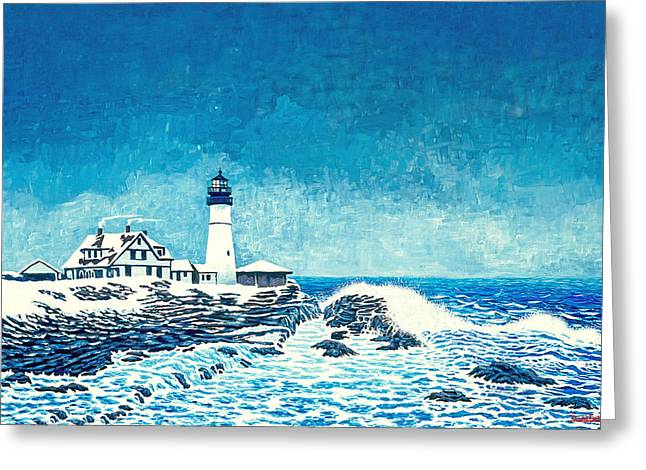 Winter Storm Watch Greeting Card by David Linton