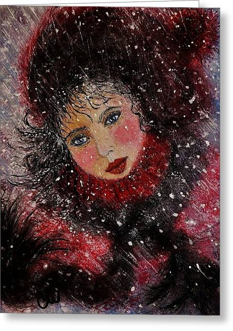 Greeting Card featuring the painting Winter Story... by Cristina Mihailescu