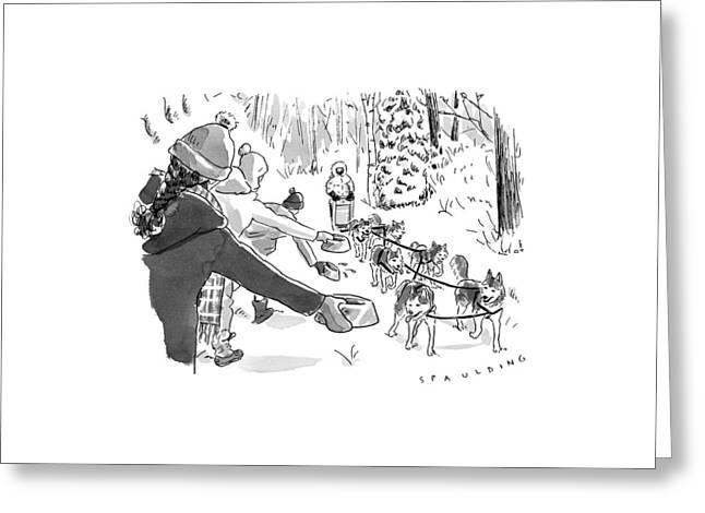 Winter Suited Volunteers Hold Out Dog Dishes Greeting Card by Trevor Spaulding