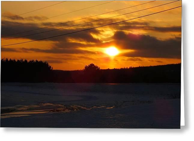 Winter Sun Sets 4 Greeting Card by Gene Cyr