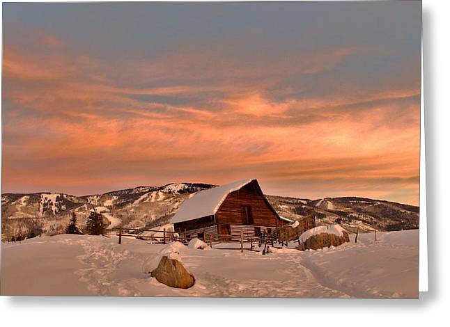 Winter Sundown Greeting Card