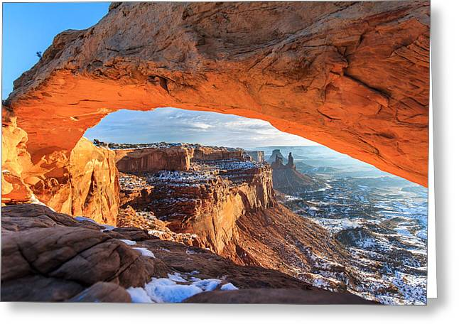 Winter Sunrise At Mesa Arch Greeting Card