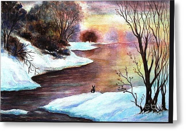 Winter Sunrise Greeting Card by Hazel Holland