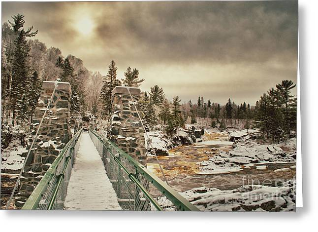 Winter Sunrise Over A Swinging Bridge Greeting Card
