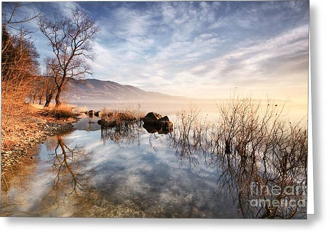 Winter Sunrise Over Lake In North Italy Greeting Card