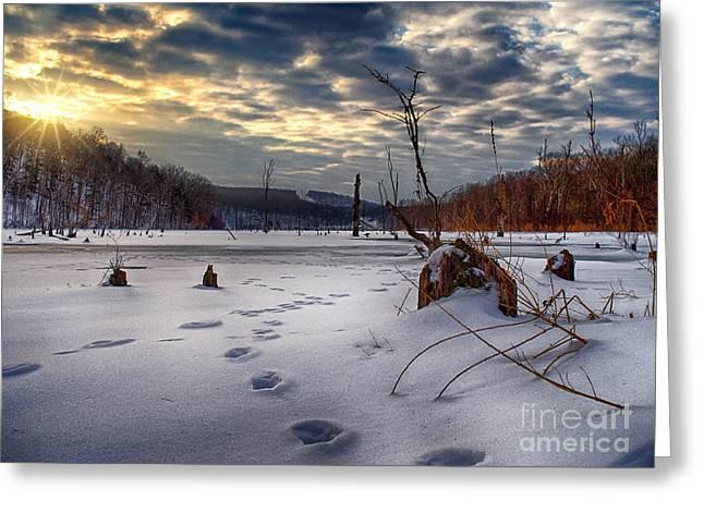 Winter Sunrise Over Monksville Greeting Card