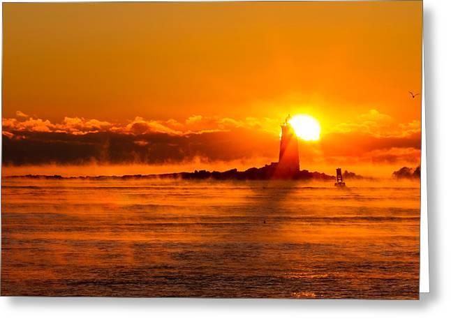 Winter Sunrise Whaleback Light Greeting Card by Jeff Sinon