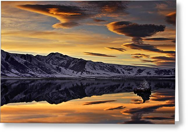 Greeting Card featuring the photograph Winter Sunset At Mono Lake by David Orias