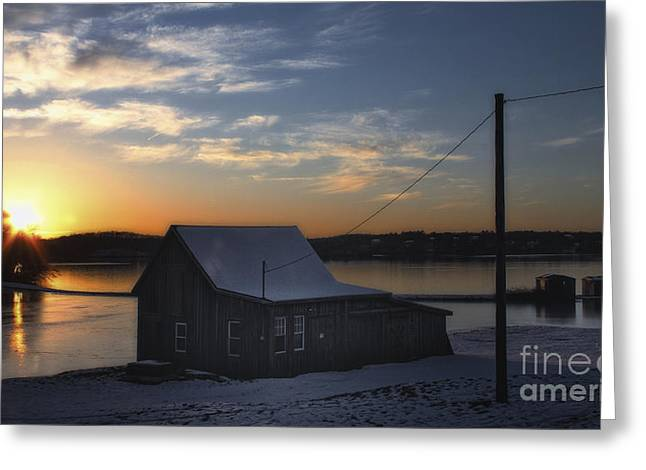 Winter Sunset At The Bog Greeting Card