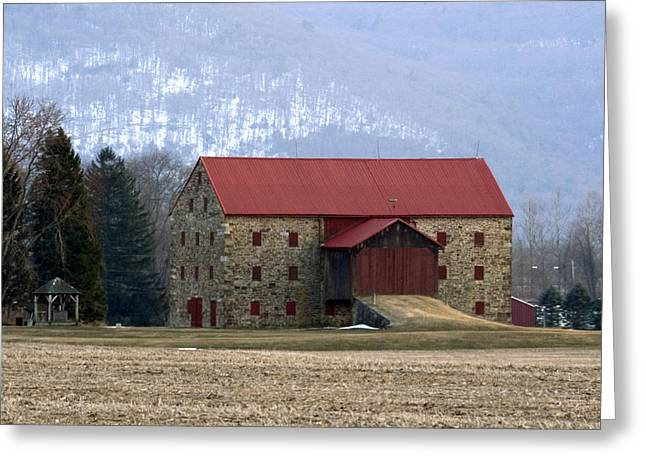 Winter Sunset  At The Old Snyder Stone Barn Greeting Card by Gene Walls