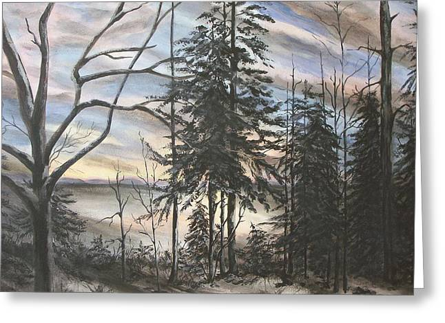 Winter Sunset Greeting Card by Bev  Neely