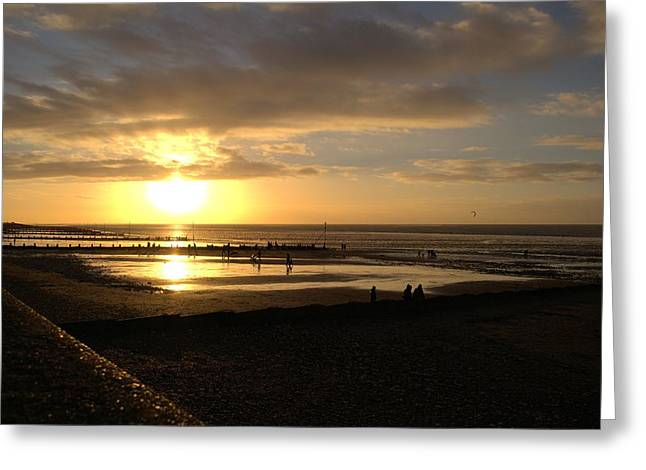 Winter Sunset Greeting Card by Dave Woodbridge