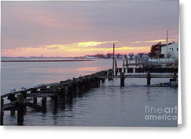 Winter Sunset Freeport Greeting Card