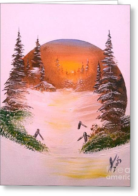 Winter Sunset In A Circle Greeting Card