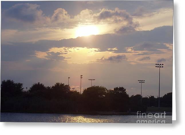 Winter Sunset In Freeport Ny Greeting Card by John Telfer