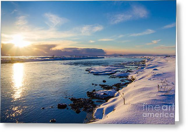 Greeting Card featuring the photograph Winter Sunset In Iceland by Peta Thames