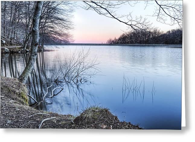 Winter Sunset  In Panta De Santa Fe Catalonia Greeting Card by Marc Garrido