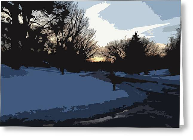 Greeting Card featuring the digital art Winter Sunset by Kirt Tisdale