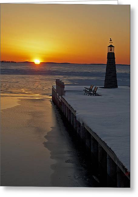 Greeting Card featuring the photograph Winter Sunset On Lake Winneconne by Judy  Johnson