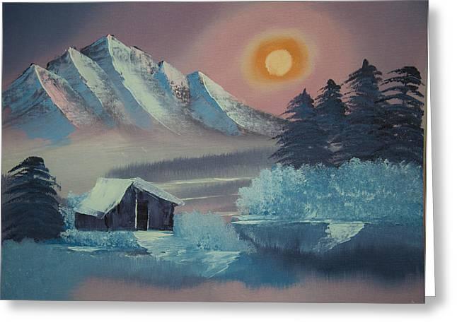 Winter Sunset--original Landscape Oil Painting Greeting Card by Laura SONG
