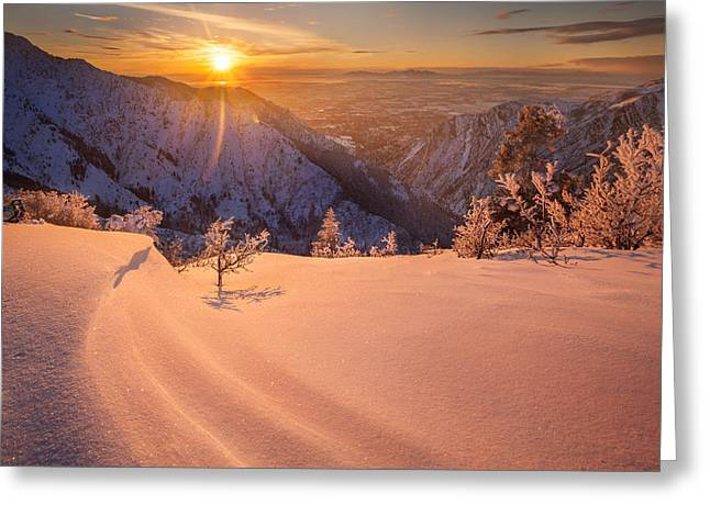Winter Sunset Over Ogden Greeting Card by Rory Wallwork
