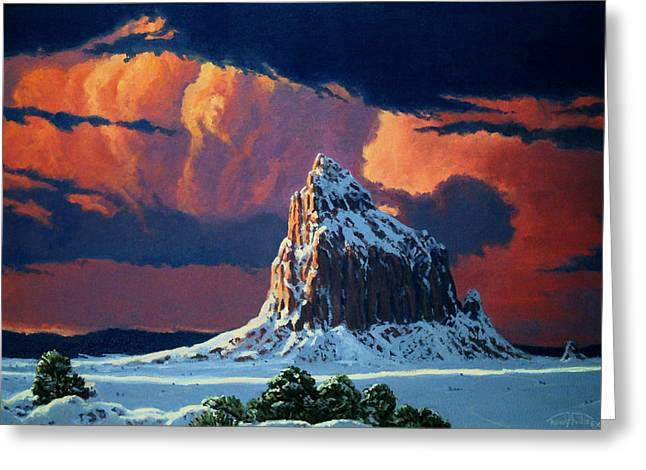 Winter Sunset Over Shiprock Greeting Card by Randy Follis