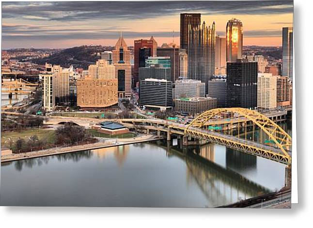 Winter Sunset Over The Pittsburgh Skyline Greeting Card by Adam Jewell