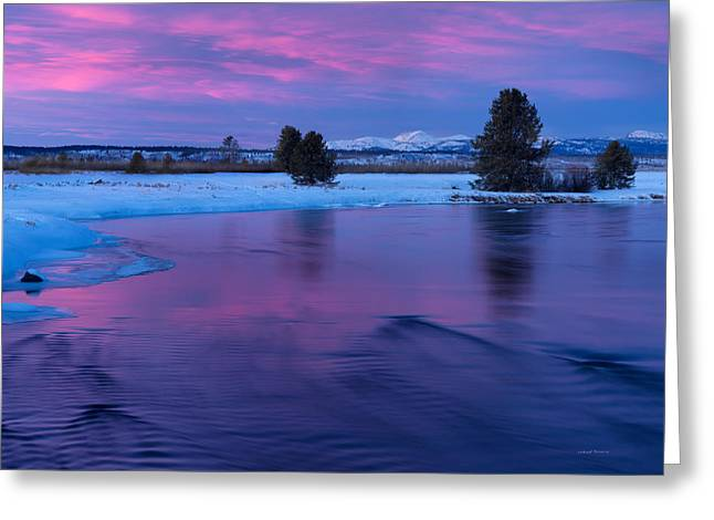 Winter Sunset Reflection Greeting Card by Leland D Howard