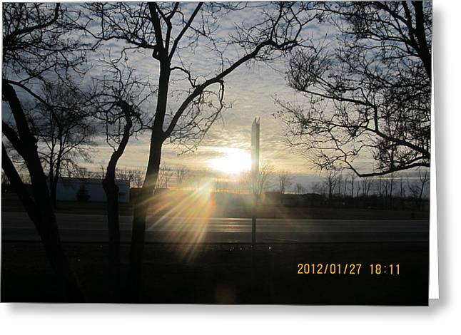 Winter Sunset Through The Trees Greeting Card