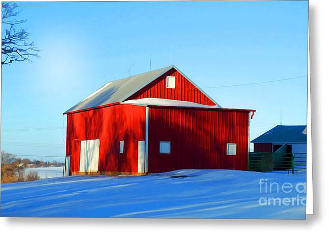 Winter Time Barn In Snow Greeting Card by Luther Fine Art