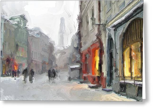 Winter Town Greeting Card by Yury Malkov