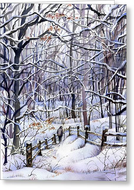Winter Trail Greeting Card by Beth Kantor
